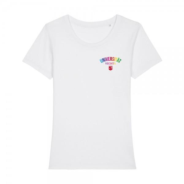 Damen T-Shirt Regenbogen weiß