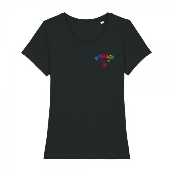 Damen T-Shirt Regenbogen schwarz