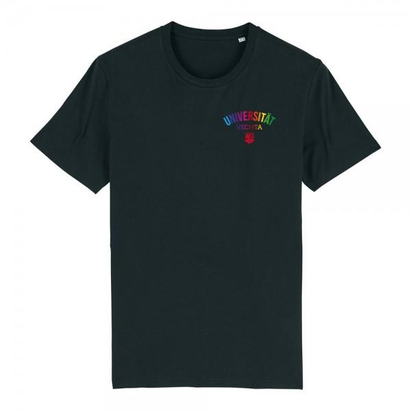 Herren T-Shirt Regenbogen schwarz